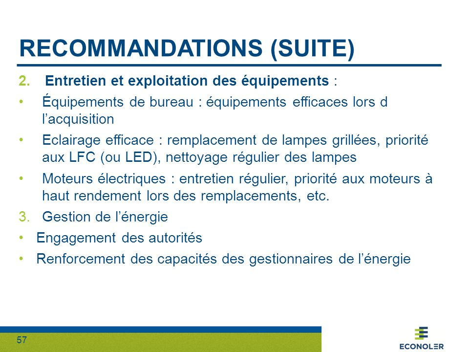 Recommandations (suite)