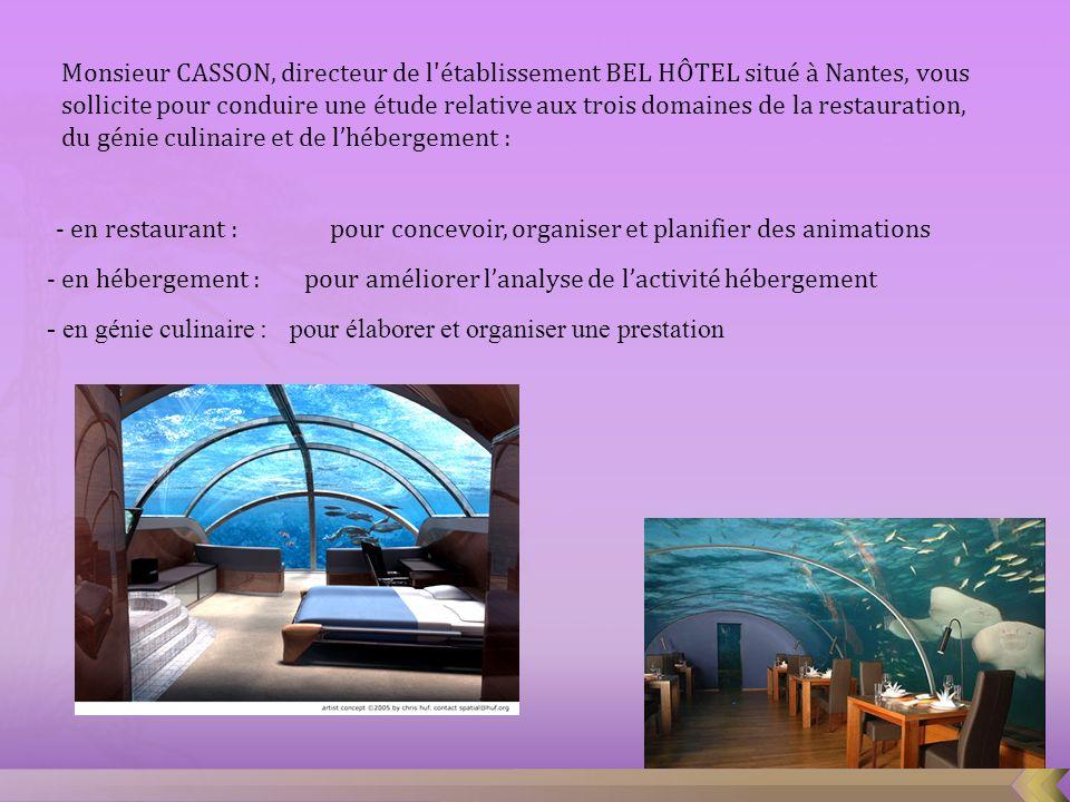 Monsieur CASSON, directeur de l établissement BEL HÔTEL situé à Nantes, vous sollicite pour conduire une étude relative aux trois domaines de la restauration, du génie culinaire et de l'hébergement :