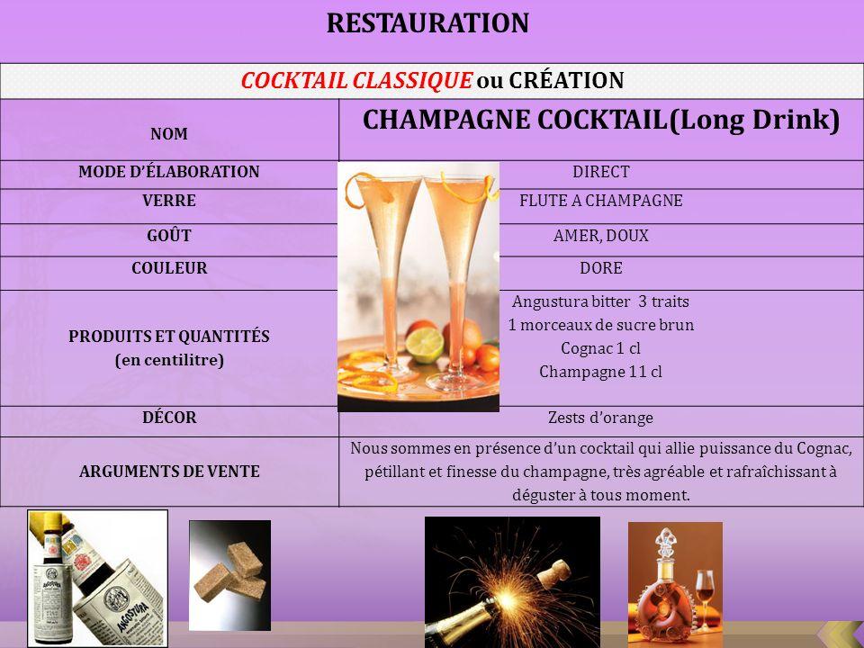 COCKTAIL CLASSIQUE ou CRÉATION CHAMPAGNE COCKTAIL(Long Drink)