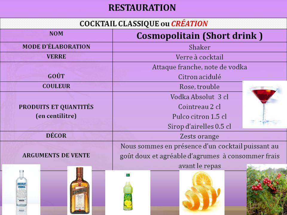 COCKTAIL CLASSIQUE ou CRÉATION Cosmopolitain (Short drink )