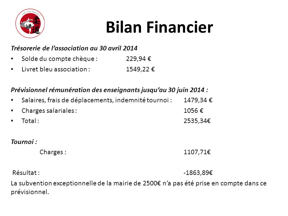 Bilan Financier Trésorerie de l'association au 30 avril 2014
