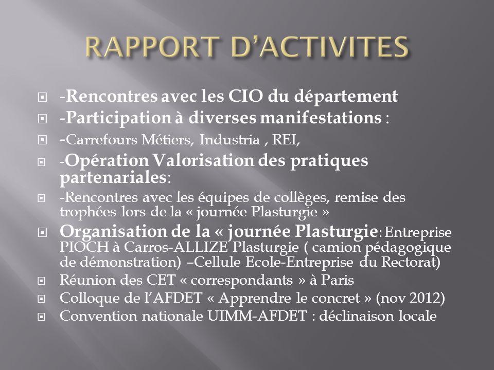 RAPPORT D'ACTIVITES -Rencontres avec les CIO du département
