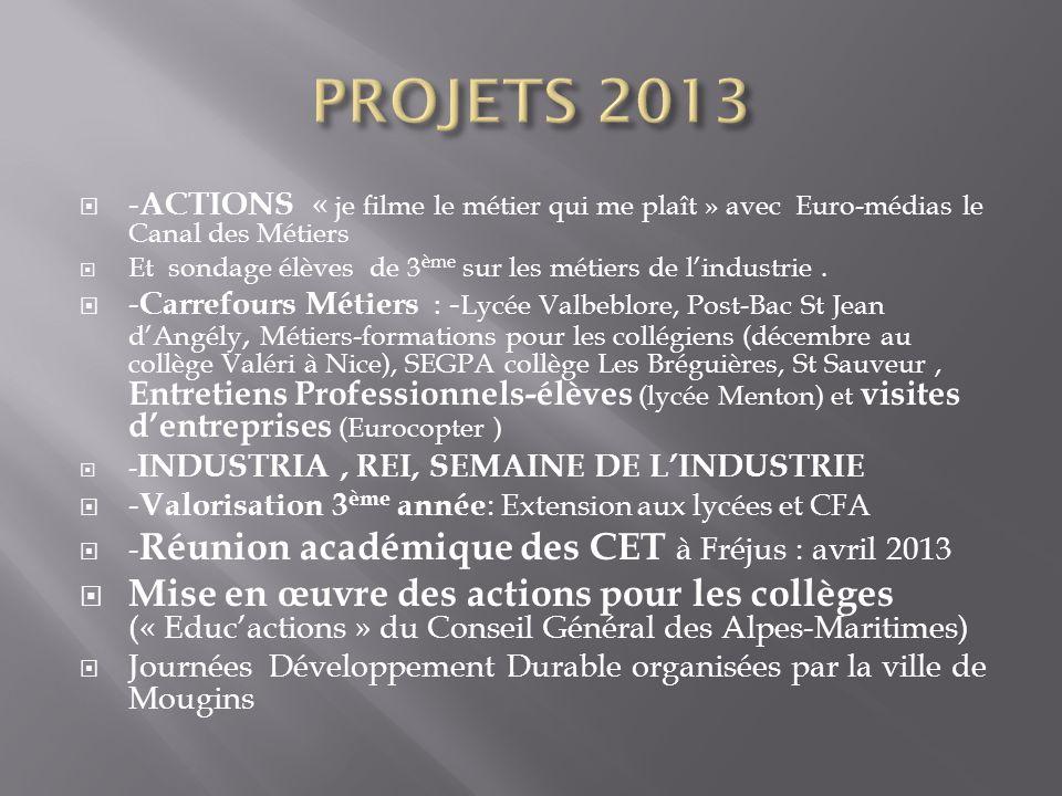 PROJETS 2013 -ACTIONS « je filme le métier qui me plaît » avec Euro-médias le Canal des Métiers.