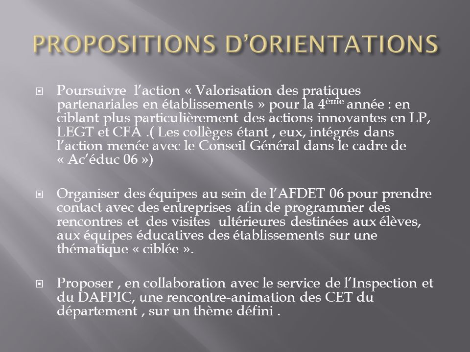 PROPOSITIONS D'ORIENTATIONS