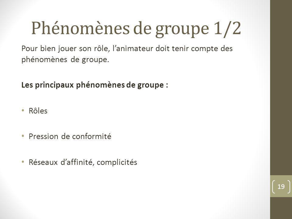 Phénomènes de groupe 1/2 Pour bien jouer son rôle, l'animateur doit tenir compte des phénomènes de groupe.