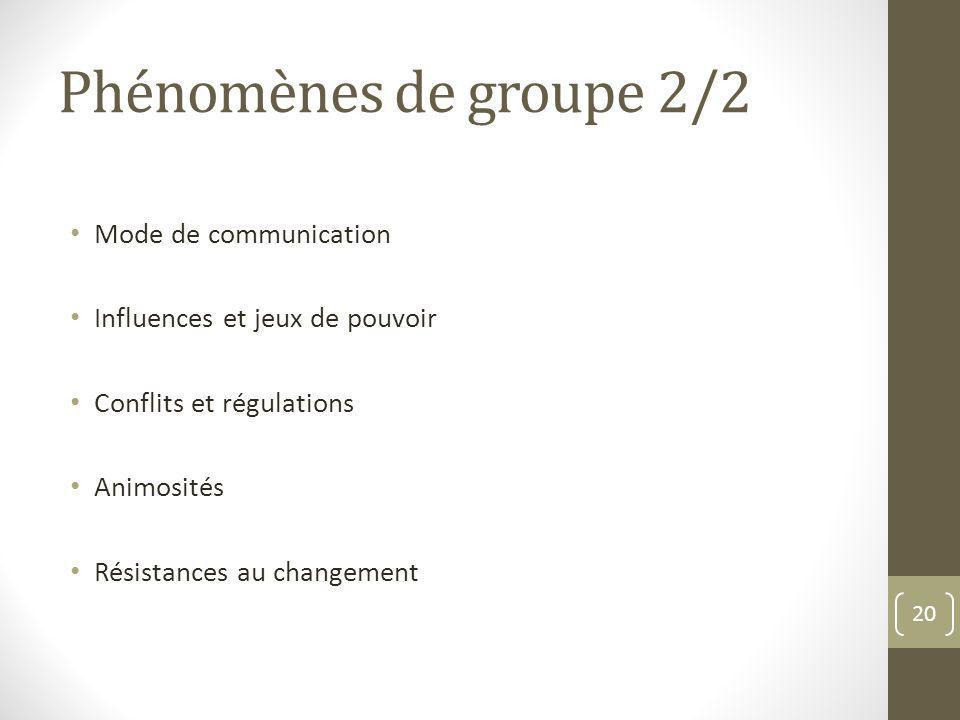 Phénomènes de groupe 2/2 Mode de communication