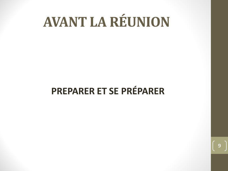 PREPARER ET SE PRÉPARER
