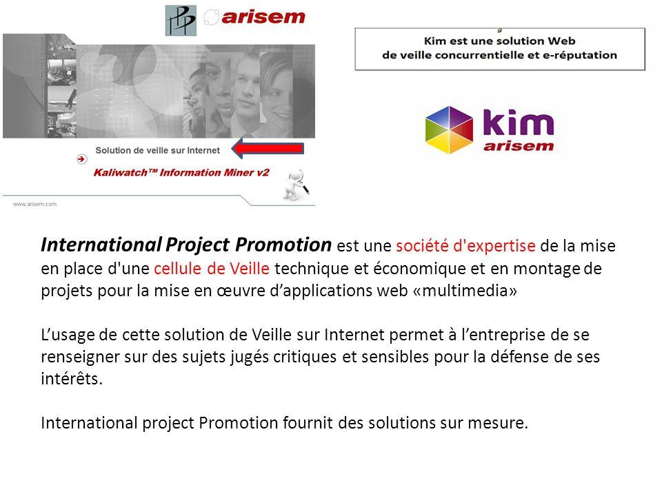 International Project Promotion est une société d expertise de la mise en place d une cellule de Veille technique et économique et en montage de projets pour la mise en œuvre d'applications web «multimedia»