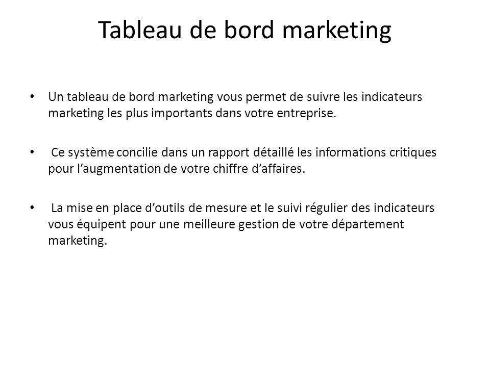 Tableau de bord marketing