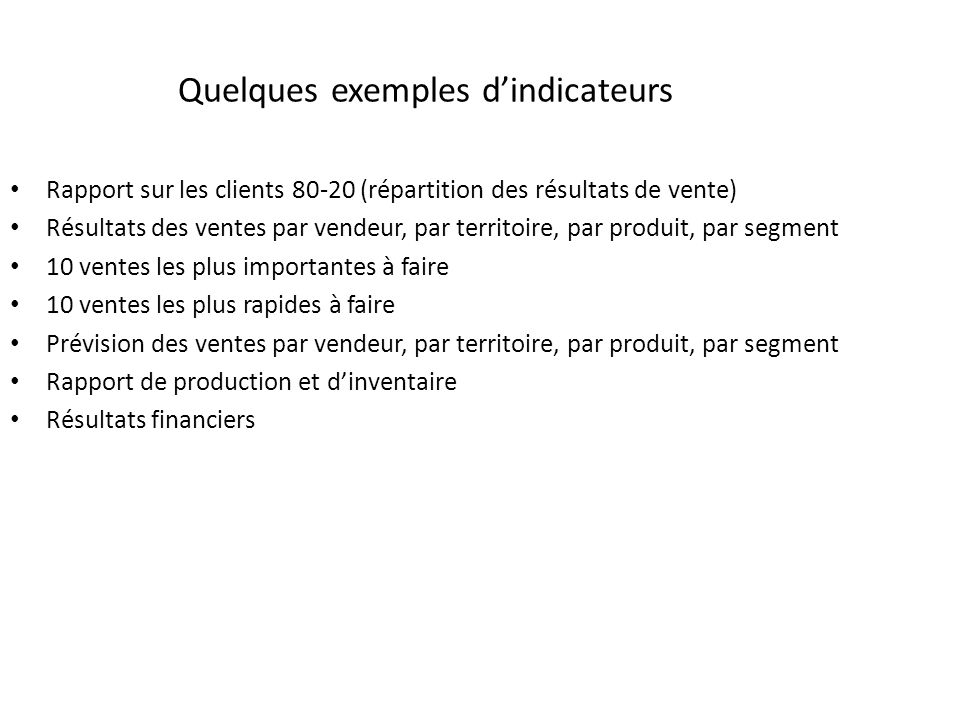 Quelques exemples d'indicateurs