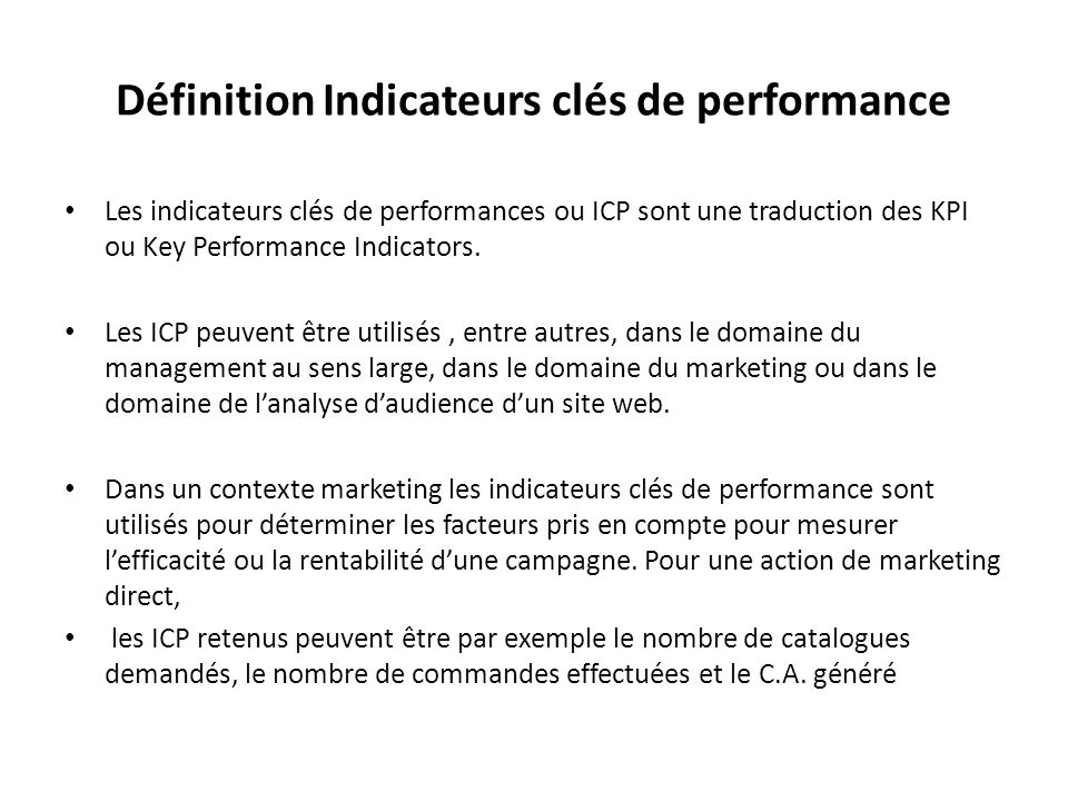 Définition Indicateurs clés de performance