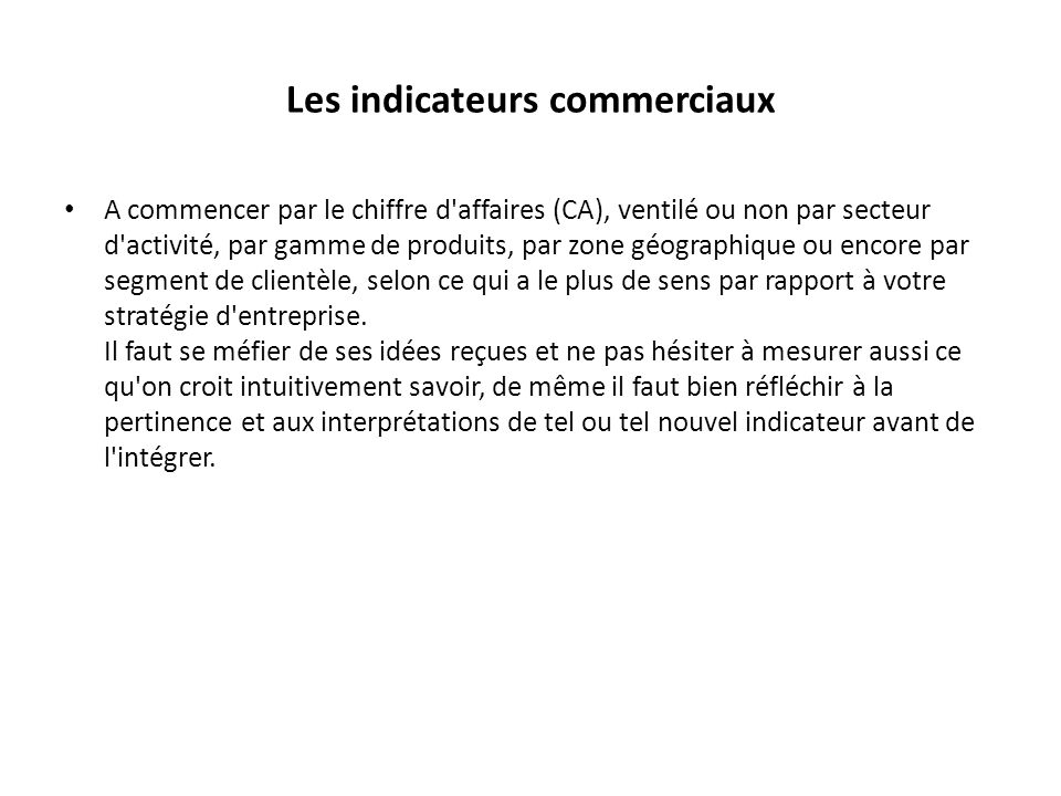 Les indicateurs commerciaux