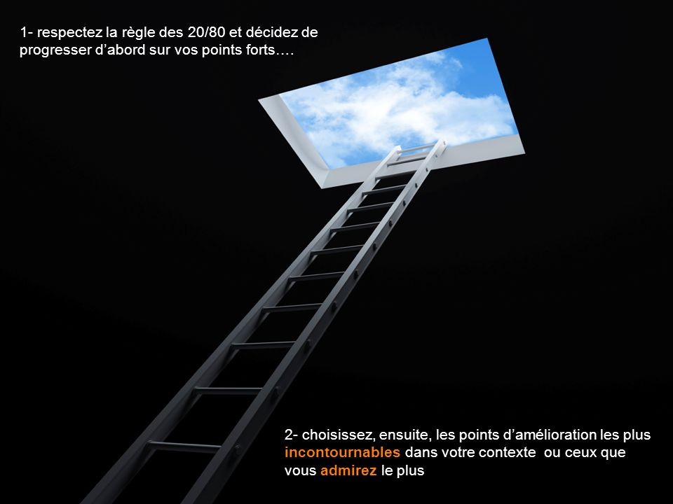 1- respectez la règle des 20/80 et décidez de progresser d'abord sur vos points forts….