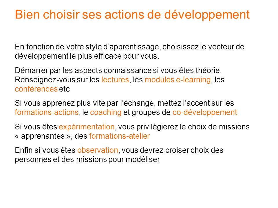 Bien choisir ses actions de développement
