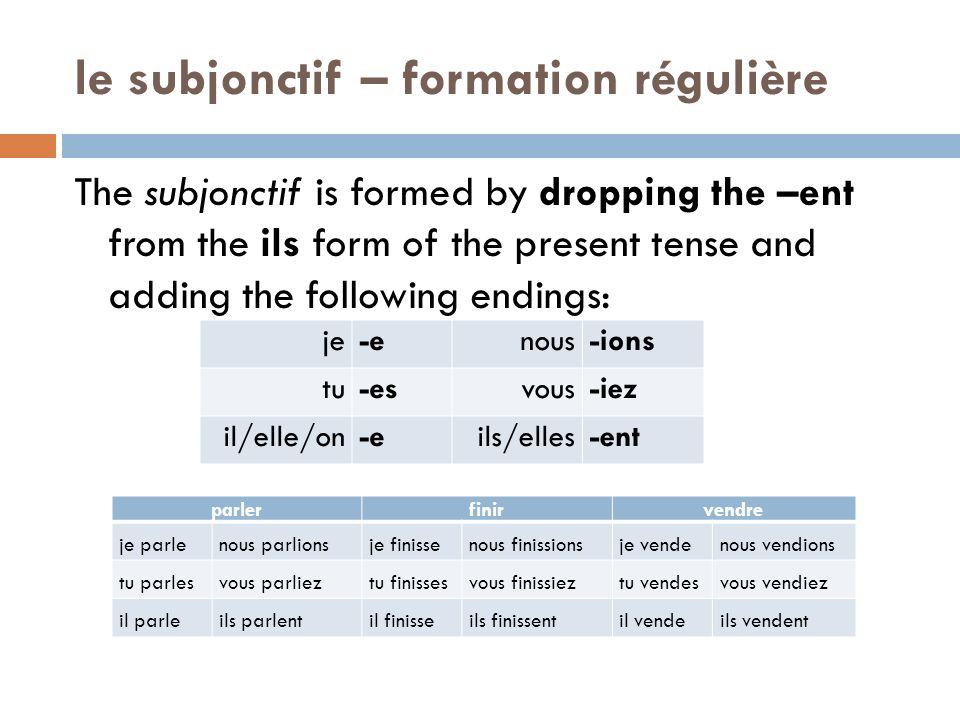 le subjonctif – formation régulière