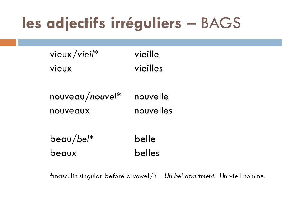 les adjectifs irréguliers – BAGS