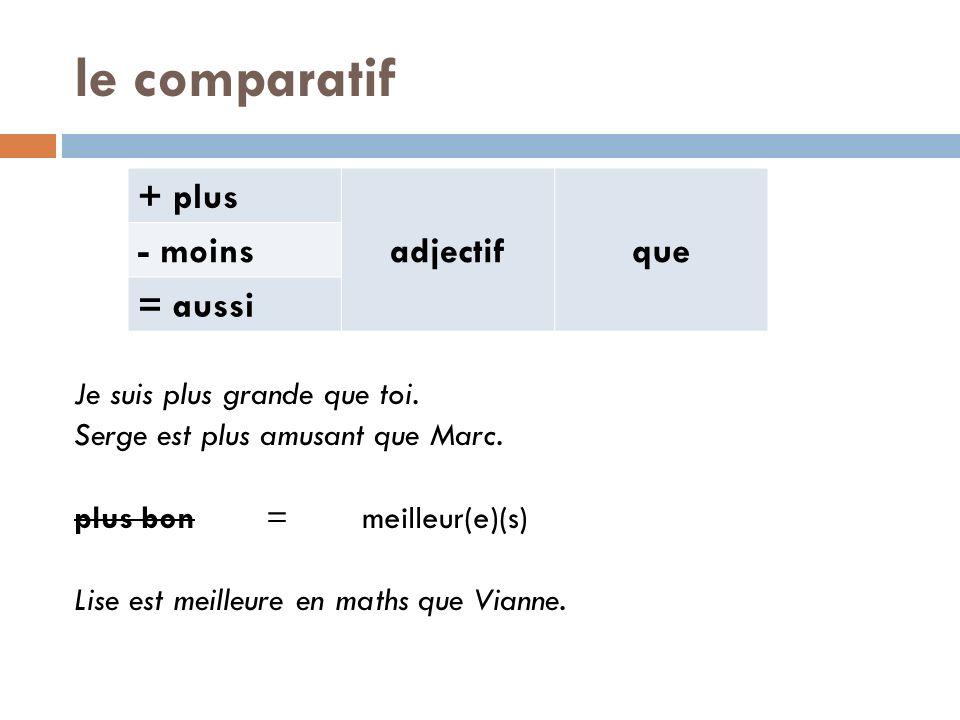 le comparatif + plus adjectif que - moins = aussi