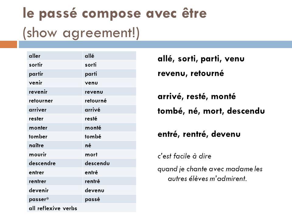 le passé compose avec être (show agreement!)