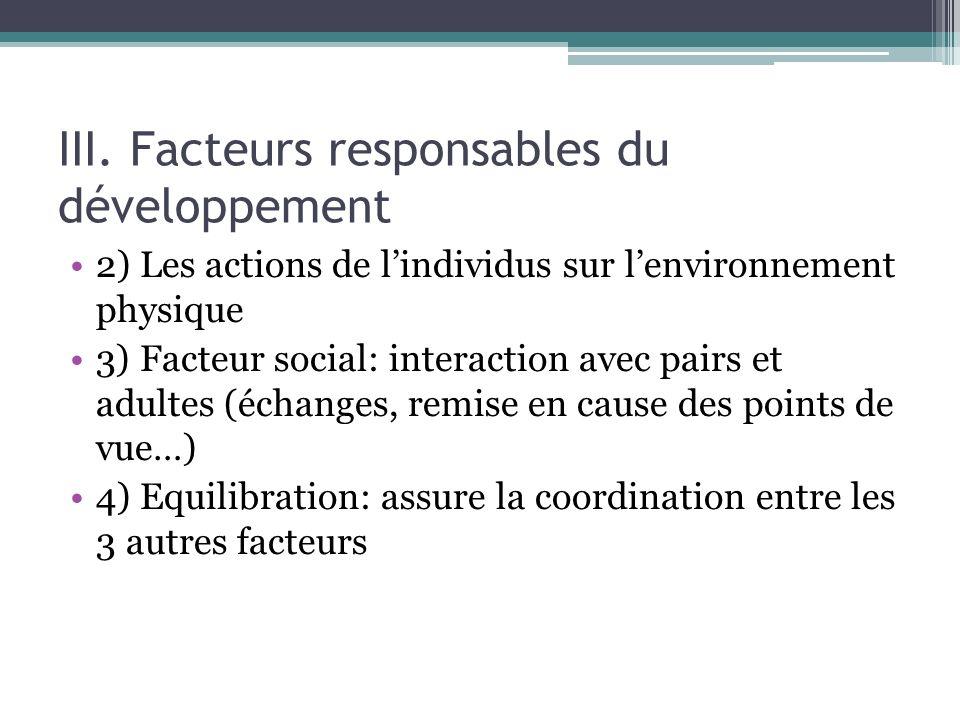 III. Facteurs responsables du développement