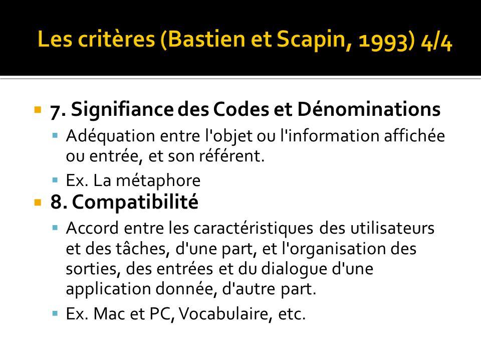 Les critères (Bastien et Scapin, 1993) 4/4