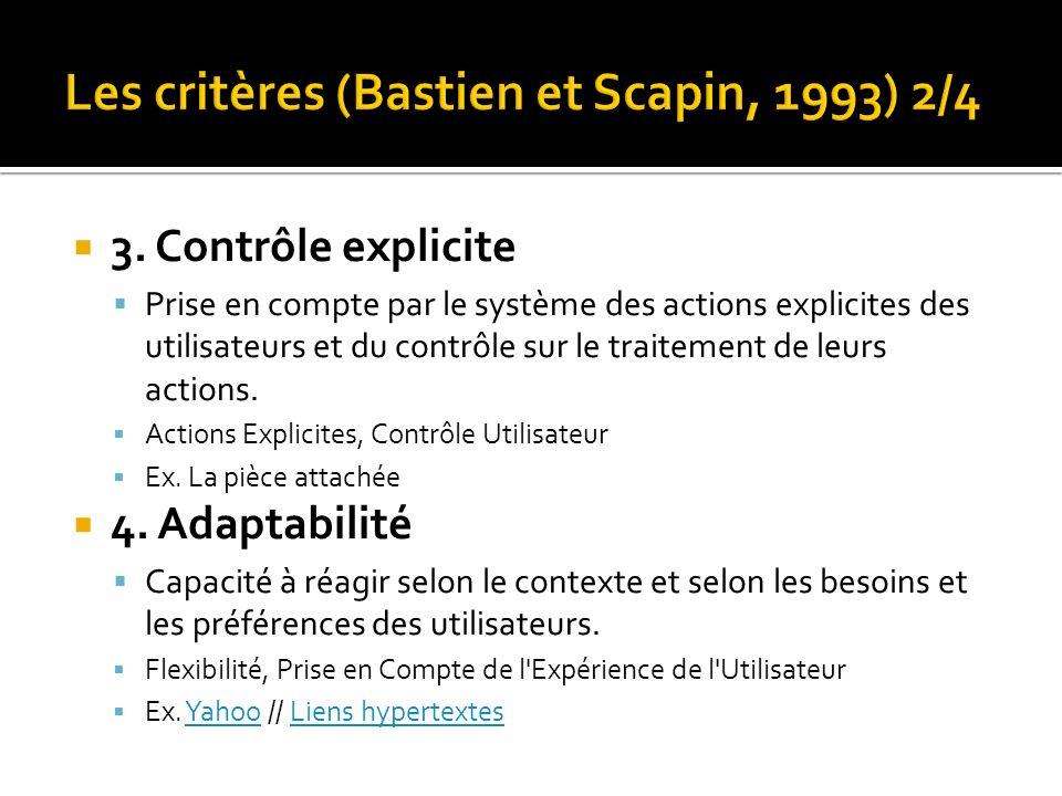 Les critères (Bastien et Scapin, 1993) 2/4