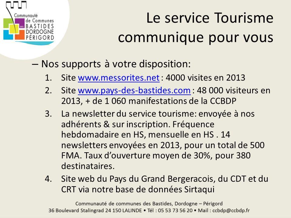 Le service Tourisme communique pour vous