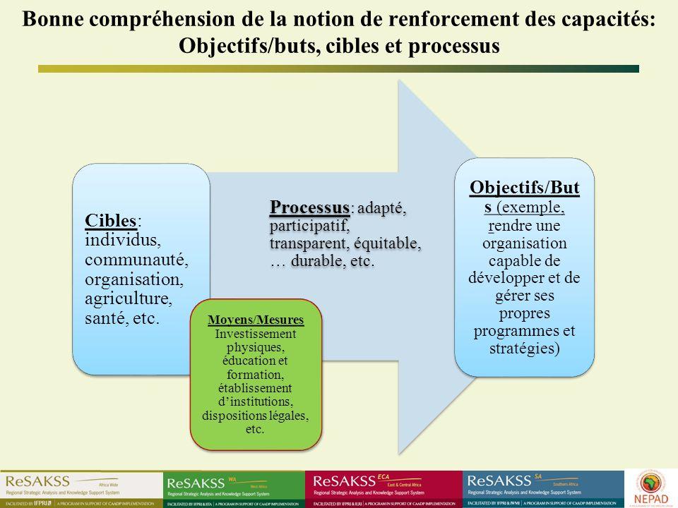 Bonne compréhension de la notion de renforcement des capacités: Objectifs/buts, cibles et processus