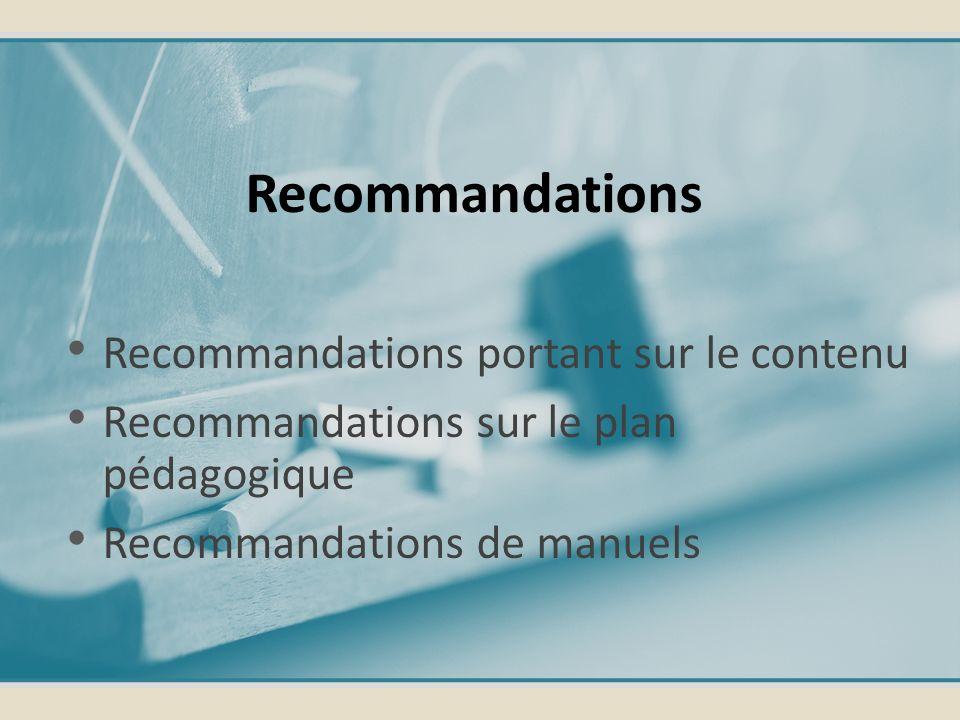 Recommandations Recommandations portant sur le contenu