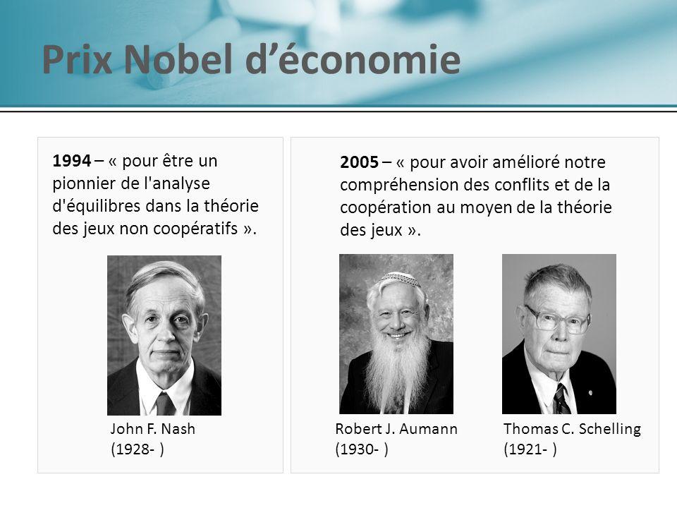 Prix Nobel d'économie 1994 – « pour être un pionnier de l analyse d équilibres dans la théorie des jeux non coopératifs ».