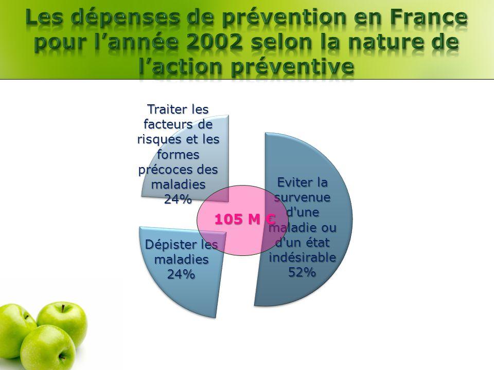 Les dépenses de prévention en France pour l'année 2002 selon la nature de l'action préventive