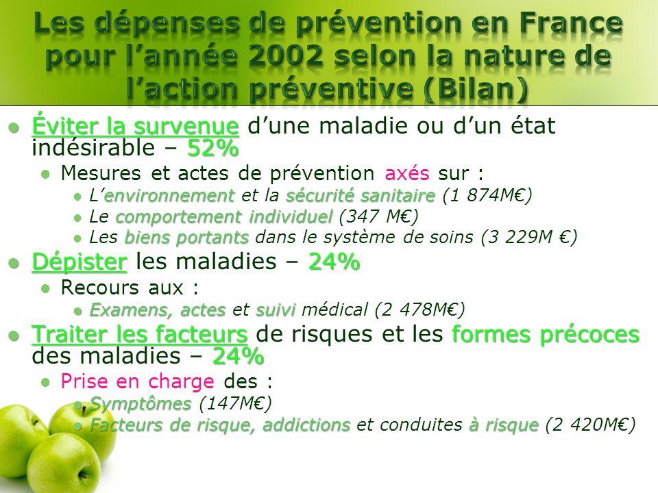 Les dépenses de prévention en France pour l'année 2002 selon la nature de l'action préventive (Bilan)