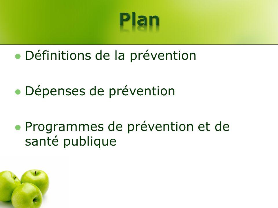 Plan Définitions de la prévention Dépenses de prévention