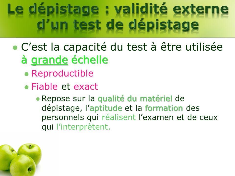 Le dépistage : validité externe d'un test de dépistage