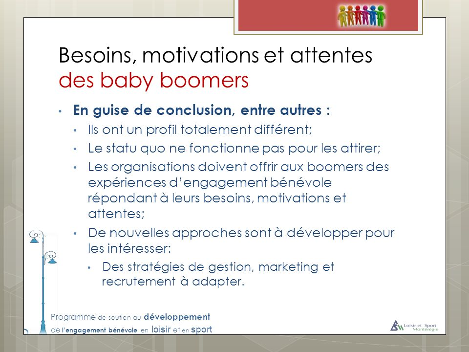 Besoins, motivations et attentes des baby boomers