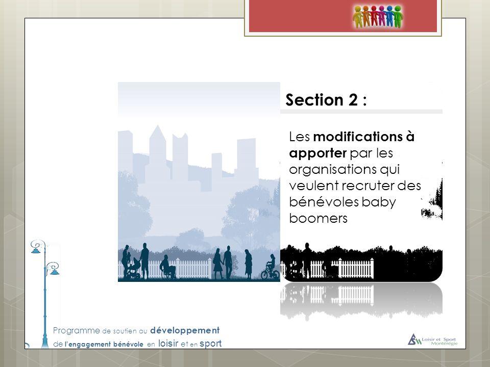Section 2 : Les modifications à apporter par les organisations qui veulent recruter des bénévoles baby boomers.