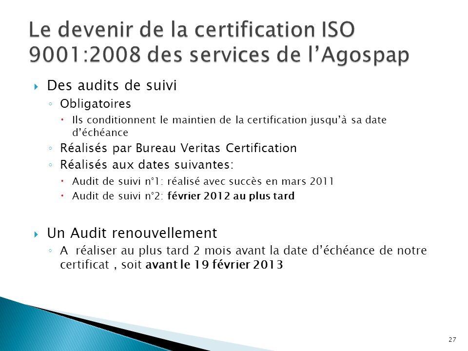 Le devenir de la certification ISO 9001:2008 des services de l'Agospap