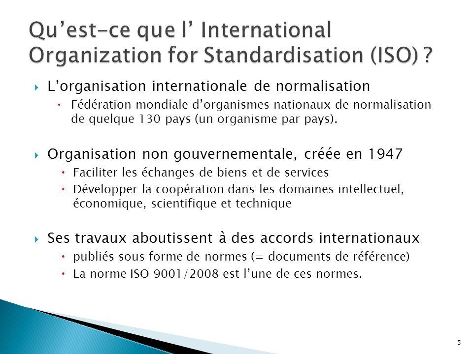 Qu'est-ce que l' International Organization for Standardisation (ISO)