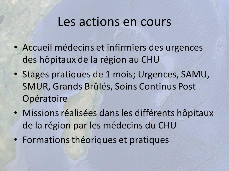 Les actions en cours Accueil médecins et infirmiers des urgences des hôpitaux de la région au CHU.