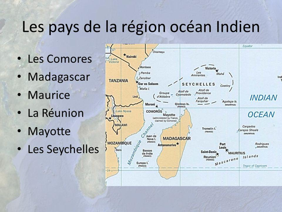 Les pays de la région océan Indien