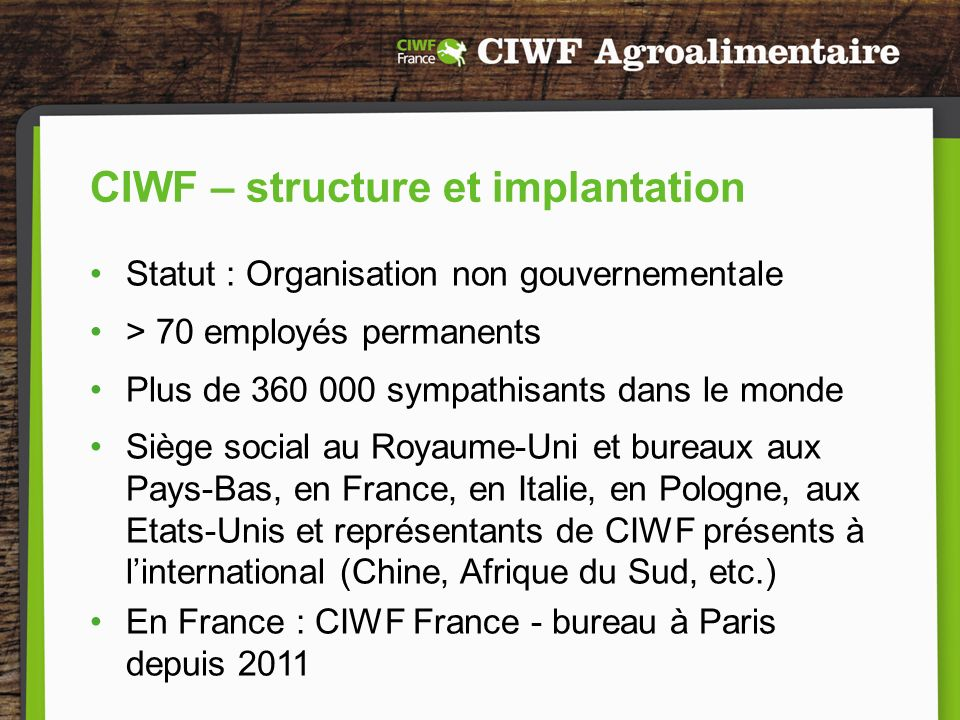 CIWF – structure et implantation