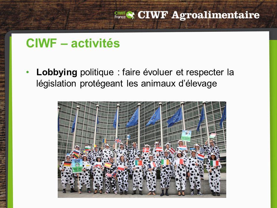CIWF – activités Lobbying politique : faire évoluer et respecter la législation protégeant les animaux d'élevage.