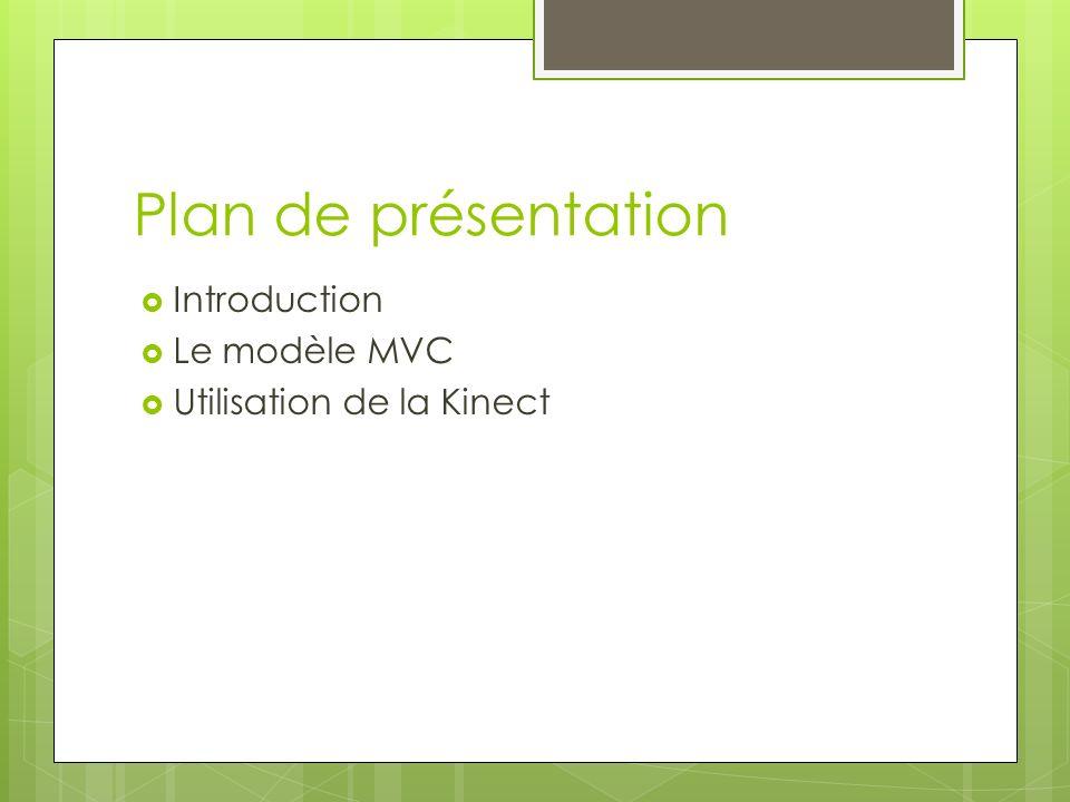 Plan de présentation Introduction Le modèle MVC
