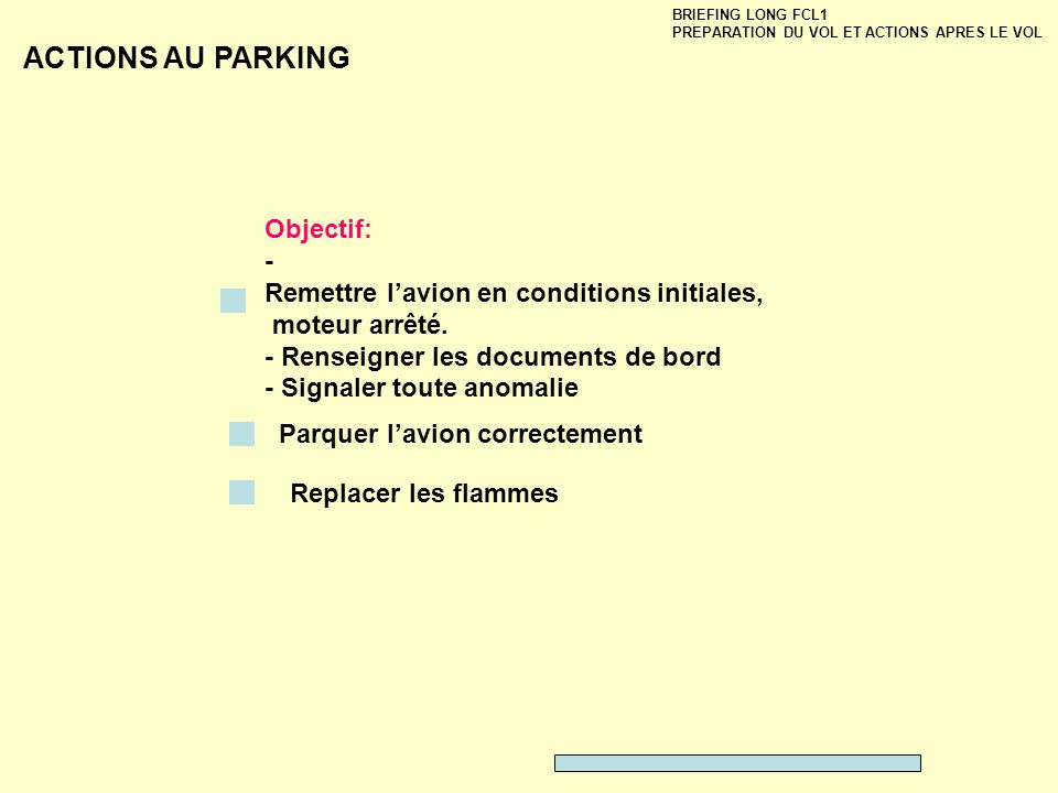 ACTIONS AU PARKING Objectif: -