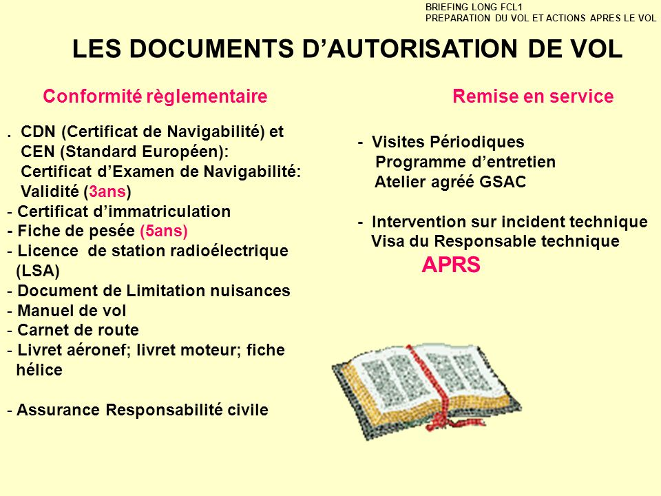LES DOCUMENTS D'AUTORISATION DE VOL