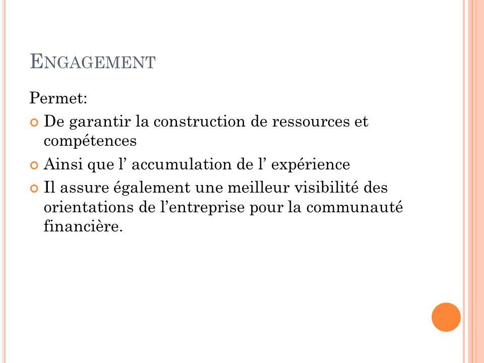 Engagement Permet: De garantir la construction de ressources et compétences. Ainsi que l' accumulation de l' expérience.