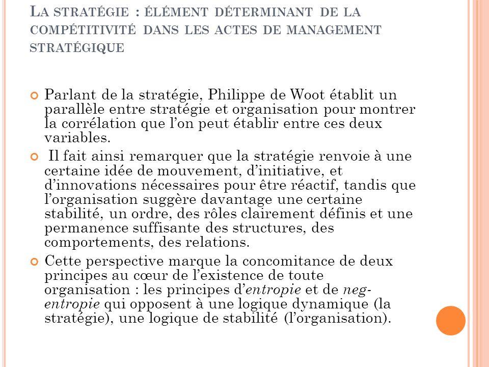 La stratégie : élément déterminant de la compétitivité dans les actes de management stratégique