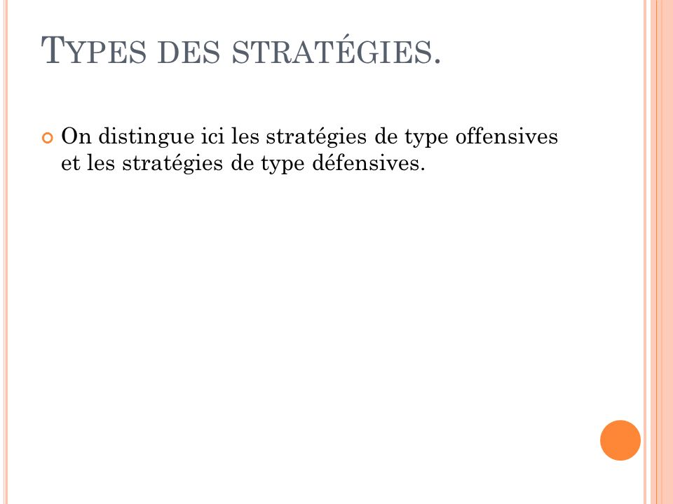 Types des stratégies.