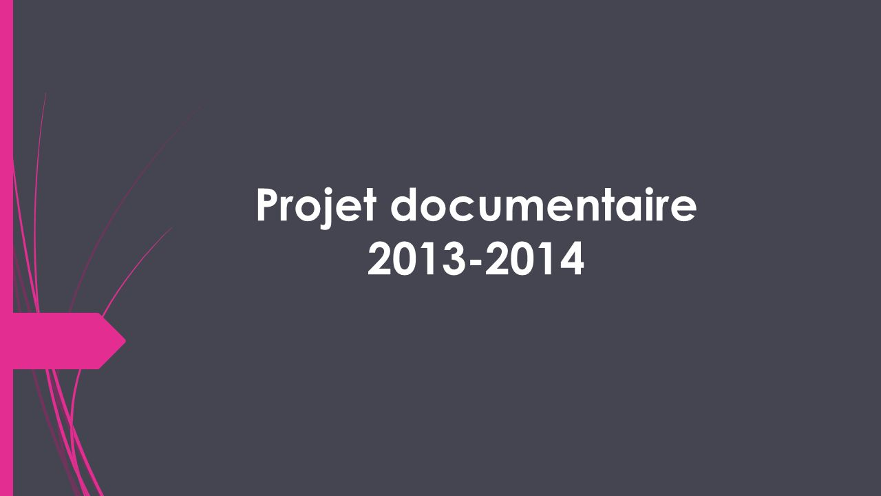 Projet documentaire 2013-2014