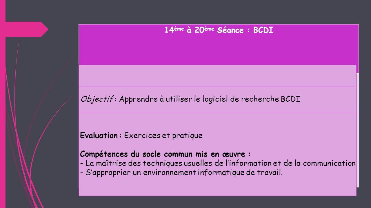 14ème à 20ème Séance : BCDI Objectif : Apprendre à utiliser le logiciel de recherche BCDI. Evaluation : Exercices et pratique.