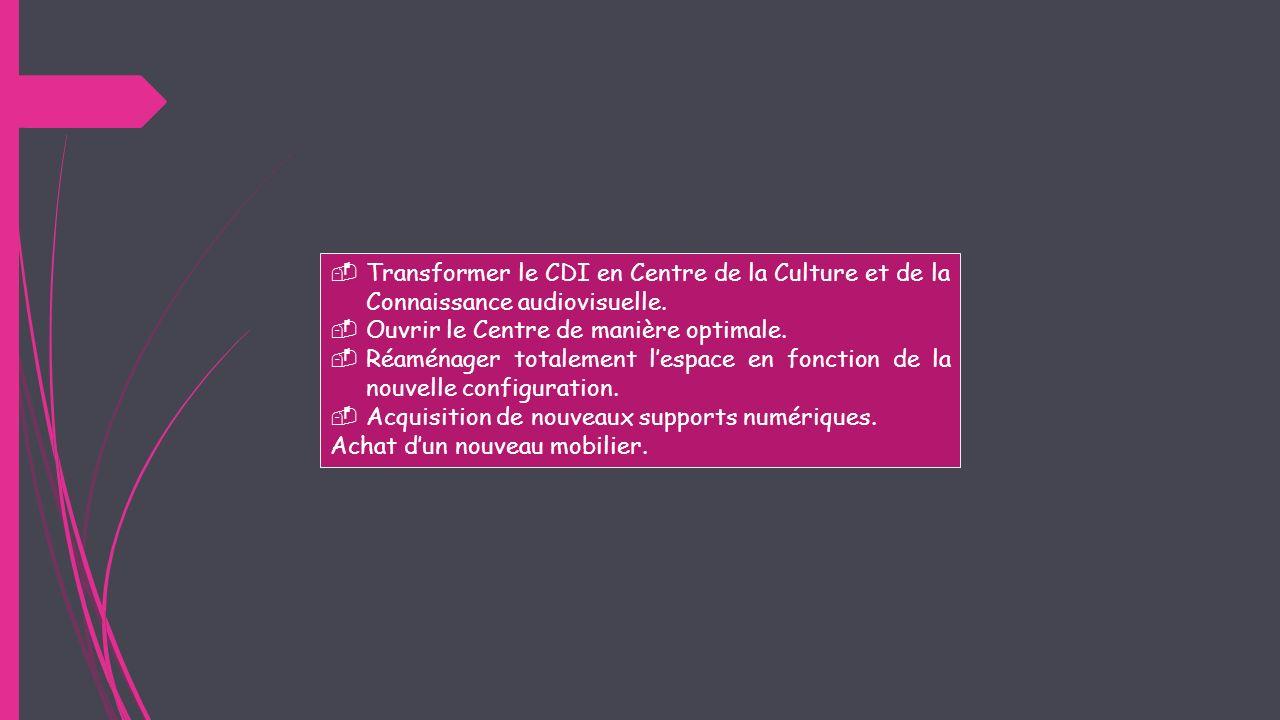 Transformer le CDI en Centre de la Culture et de la Connaissance audiovisuelle.